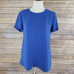 J Crew Blue Thick Professional Short Sleeve Blouse
